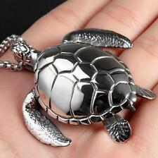 Large Sea turtles Stainless steel tortoise Pendant Rolo Chain Necklace 4mm 24''