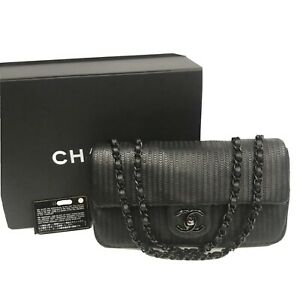 Chanel Black Lambskin Leather Chain Shoulder Flap Bag 100% Auth