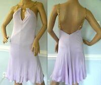 Gianni VERSACE Logo Chain Strap Pastel Purple Open Back Dress US 2 4 / IT 40