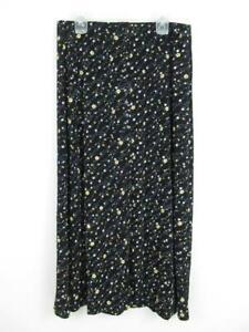 Vintage Briggs Petite Floral Button Up Maxi Skirt Women's Size M/P Y2K 90s Black