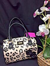 New Betsey Johnson Black and Tan Cheetah Satchel Handbag Purse Bag Animal Print