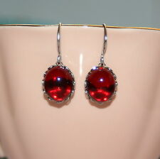Vintage Siam Red Austrian glass bridesmaid artisan pinup dangle earrings