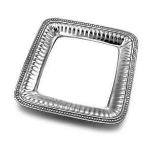 Wilton Armetale Flutes and Pearls Medium Square Serving Tray, 11.75-Inch