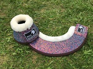 PINK/PURPLE SPARKLY BLINGY OVERREACH/BELL HORSE BOOTS FLEECE PONY COB FULL