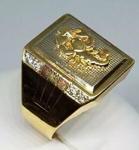 GOLD 14K Mens Ring scorpion solid Luck Simulated Diamond 10 8 9 11 12