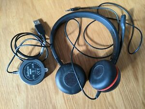Jabra Evolve 30 Headset With Mic ENC060 USB or 3.5mm. Excellent Condition