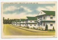 VTG Camp Upton Long Island New York Soldiers Street View Barracks Postcard c1943