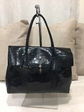 $1350❤️ Mulberry Bayswater Patent Leather Leopard Print Blue Black Authentic