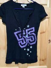 Junior's Self Esteem Black/Purple Fitted T-shirt   55 & Stars  sz L