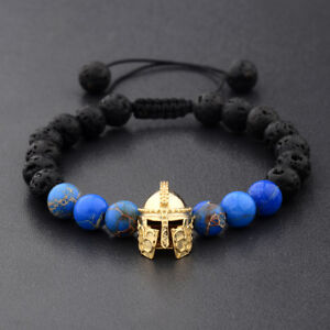 Mens Gold Spartan Helmet Beaded Natural Lava Stone Adjustable Macrame Bracelets