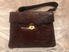 FAB! VTG Unused! Brown Lizard Skin w Gold Tone Metal Hardware Satchel Handbag