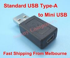 2x Mini USB 5-Pin Female Port to Type-A Male Plug Adapter Connector Converter AU