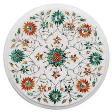 """12"""" White Marble Center Coffee Table Top Floral Inlay Dining Room Decor H2339"""