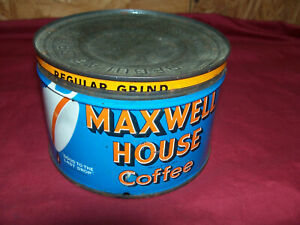 Antique Maxwell House Coffee Keyed Tin 1 One Pound Old Vintage Kitchen Collector