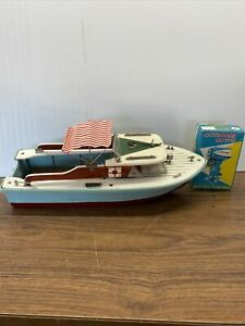 """12"""" Long Wood Model Boat w/ Electric Motor Red Striped Fabric Canopy"""