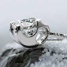 Gift For Her 925 Silver Large Crystal Diamond Silver Pendant Necklace Xmas Women