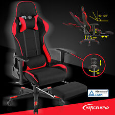 Office Gaming Chair Racing Seats Computer Chair Executive w/ Footrest Rocker Red