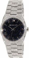 MICHAEL KORS CHANNING SILVER TONE,BLACK PAVE DIAL,CRYSTALS BRACELET WATCH-MK6089
