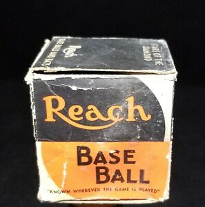 1916-34 Reach League Black & Red 112 Stitch Baseball with Box RC Rubber Center