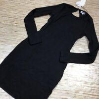 A-837 About Us Sheath Dress Black Ribbed Tiie Back Long Sleeve XXS New