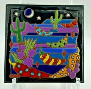 Vtg Masterworks Ceramic Art Tile Trivet Desert w/Chili's Southwest Theme
