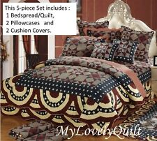 5pc Set Classic Country Star Patchwork Printed BEDSPREAD Quilt KING 240x260cm