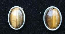 Vintage 50s JOMAZ Joseph Mazer Goldtone Oval Shape TIGER EYE Clip-On Earrings