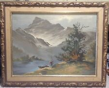 VINTAGE MOUNTAIN LANDSCAPE W/ RIVER AND FISHERMAN MASTERPIECE PAINT BY NUMBERS