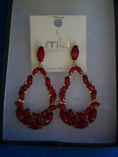 Mia Goldtone Red Resin Tear Drop  Dangle Earring in Box & Pouch