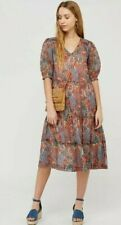 MONSOON Orange Paisley Lightweight Midi Tiered Dress Sz L UK 16 18 NWT £65 Boho