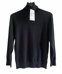 Etam Jumper Pullover Top UK 12 Euro 40 Black Roll Neck Tags Cotton Blend