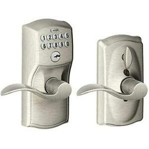 Schlage, Satin Nickel FE595VCAM619ACC Camelot Keypad Entry with Accent Levers