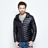New Men's Hooded Duck Down Jacket Ultra Light Travel Portable Sports Outerwear