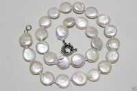 """Genuine White 9-10mm Coin Pearl 925 Sterling Silver Chain Clasp Necklace 18""""AAA"""
