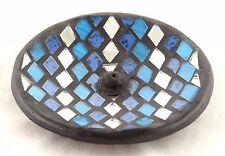 Mosaic Glass Blue Silver Round Ceramic Incense Burner NEW handmade black stick