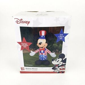 Mickey Mouse Airblown Inflatable Gemmy Uncle Sam Disney Patriotic Americana 5 ft