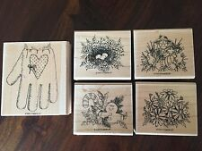 Stampin' Up GIFTED GLOVE Set of 5 RARE Stamps 1997 Country Fall Christmas Spring