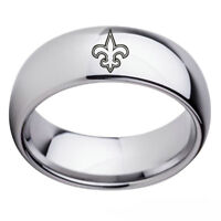 New Orleans Saints Football Team Silver Stainless Steel Mens Band RingSize 6-13
