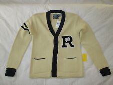 Polo Ralph Lauren Cardigan Sweater_P Wing R Rugby Track_Knit Patch Varsity Linen