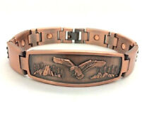 MAGNETIC COPPER BRACELET WITH EAGLE ON THE FRONT ~8.25 INCH  5364