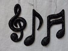 Music Note Ornaments Black Glitter Music Ornament