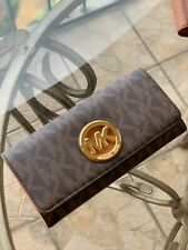 Michael Kors Fulton Flap Credit Card ID Wallet Leather Black Brown Gold Silver