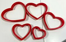 "Wilton Nesting Heart Cookie Cutters Red Plastic Set of 5 - 4"" to 2"" Sizes"