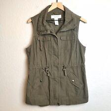 Sebby Womens M Olive Army Green Zip Front Drawstring Sleeveless Utility Vest