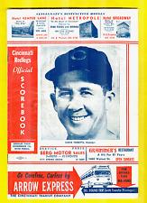 1954 Reds vs Giants Scored Program w/4 Autographs:Bailey,Harmon,McMillan, + Bork