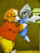 Harry Whittier Frees Puppy Helping Kitten Mail a Letter 1957 Print Matted