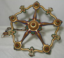 Vintage Victorian Chandelier octopus arms five light Rewired and Repainted