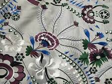 Embroidered, Silk Fabric. Silver Gray with Blue & Burgundy Embroidery Flowers