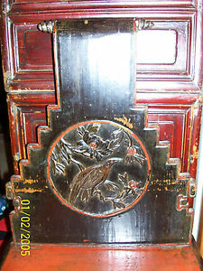 Antique Burmese or Cambodian Carved & Painted Ladies Chair with birds & flowers