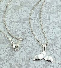 """Estate .925 Sterling Silver, Modernist Whale Tail Pendant, Beaded Necklace, 16"""""""